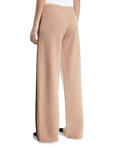 Race Track Side-Stripe Wool/Cashmere Track Pants