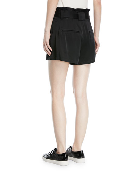 Deliah High-Waist Drapey Sateen Shorts