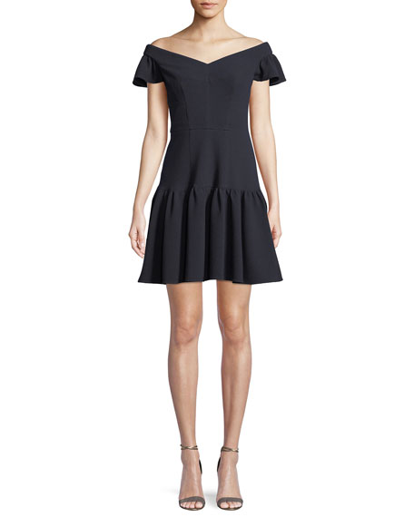 Image 1 of 1: Textured Off-the-Shoulder Mini Dress