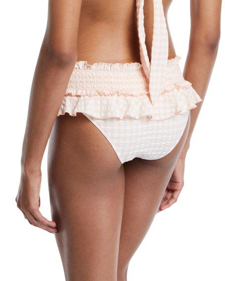 Gingham Skirted Smocked Bikini Swim Bottoms
