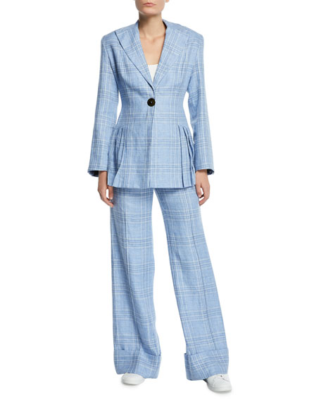 Always Here For You Cuffed Linen Check Pants