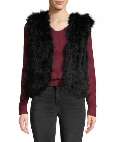 Violet Marabou Feather Vest