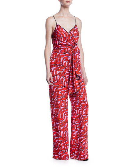 Barry Printed Stretch-Viscose Tie-Front Jumpsuit