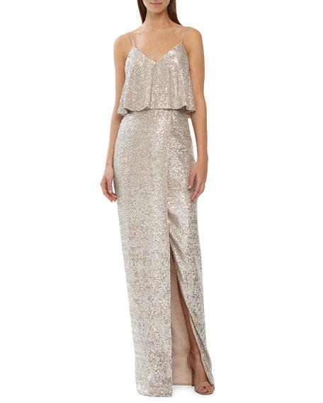 Sequin V-Neck Column Dress w/ Front Slit