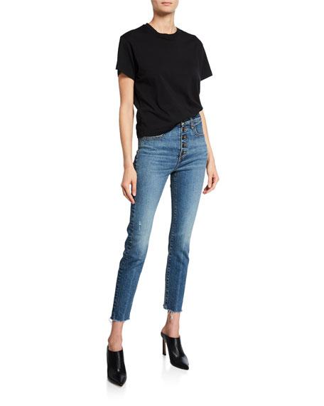 Faye High-Rise Button-Fly Skinny Jeans w/ Frayed Hem