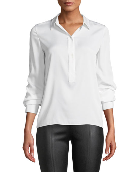 Image 1 of 1: Slim-Fit Silk Button-Front Popover Shirt