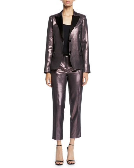 Metallic Cropped Straight-Leg Pants