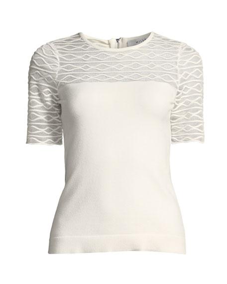 Short-Sleeve Translucent Texture Top