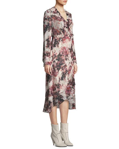Garden Surplice Long-Sleeve Printed Wrap Dress