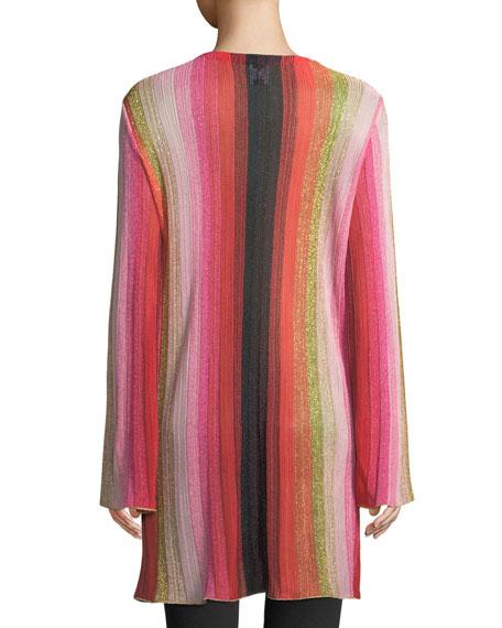 Metallic-Stripe Long-Sleeve Cardigan