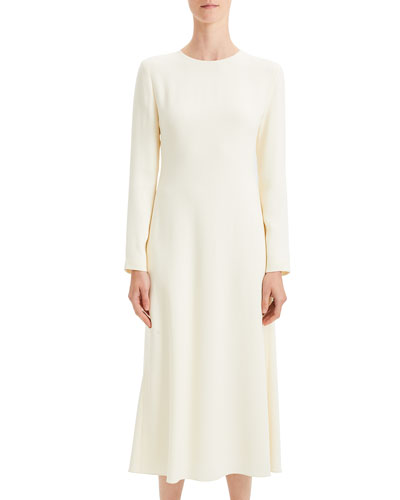 Textured Viscose Cady A-Line Long-Sleeve Dress