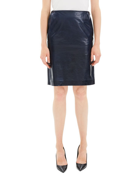Image 1 of 1: Clean Leather Knee-Length Pencil Skirt