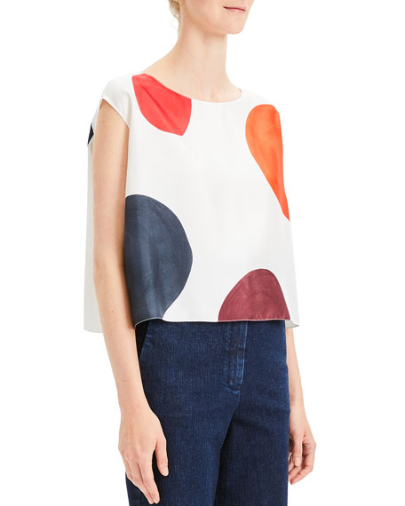 Image 1 of 1: Straight Polka Dot Cropped Twill Top