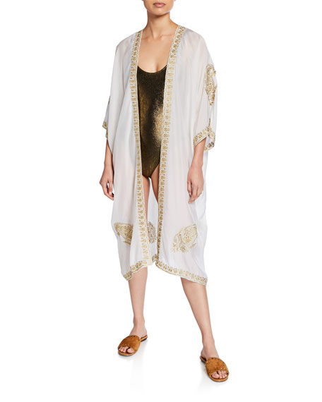 Image 1 of 1: Babani Embroidered Coverup Kimono