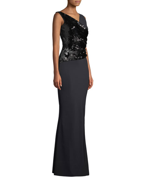 Hilaria Sleeveless Sequin Wrap Gown