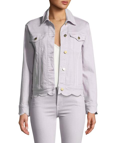 Scalloped-Edge Button-Front Denim Jacket
