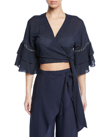 Image 1 of 1: Cropped Ruffle-Sleeve Coverup Wrap Top