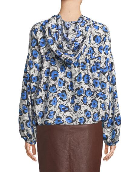 Tomi Hooded Floral-Print Silk Top