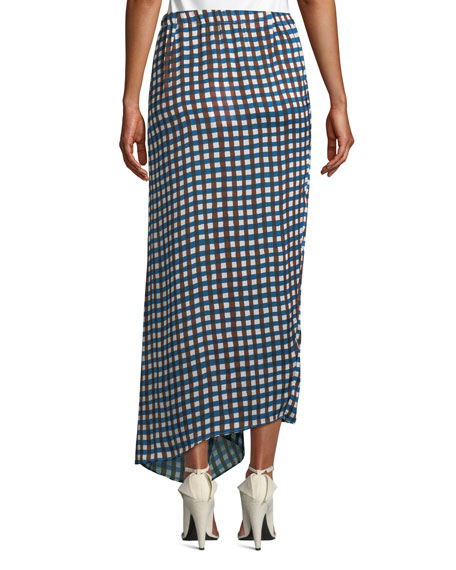 Soko Draped Check Long Skirt