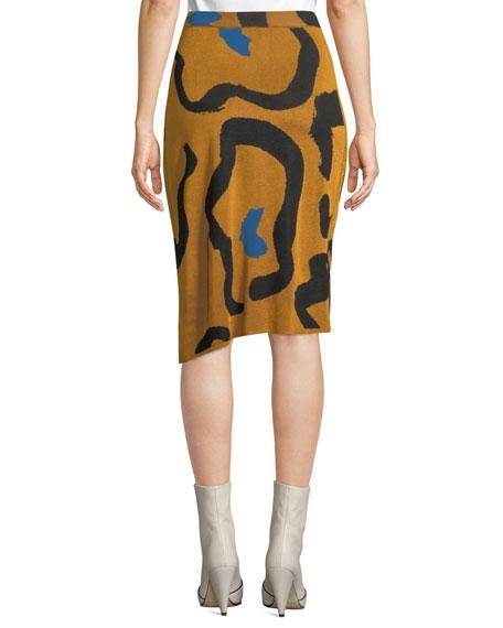 Kazu Draped Leopard-Print Jacquard Sweater Skirt