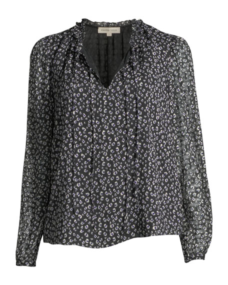 90e69aad7f9fa Rebecca Taylor Long-Sleeve Mini Cheetah-Print Silk Top