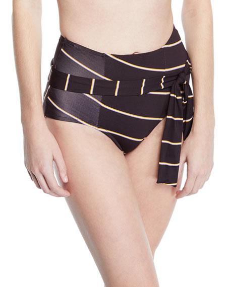 Amulet Striped Tie-Front Bikini Bottom