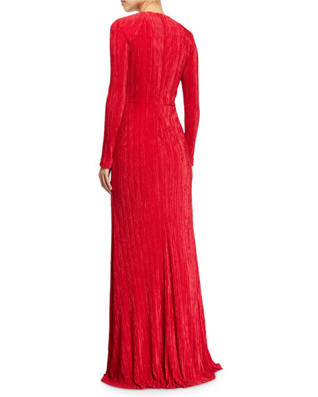 Fortuni Knotted Long-Sleeve Drape Dress