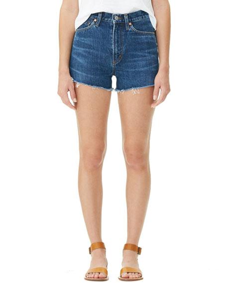 Kristen High-Rise Frayed Denim Shorts