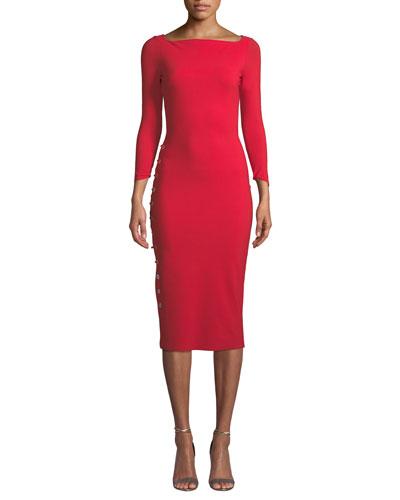 Prudencia Side-Laced Sheath Dress