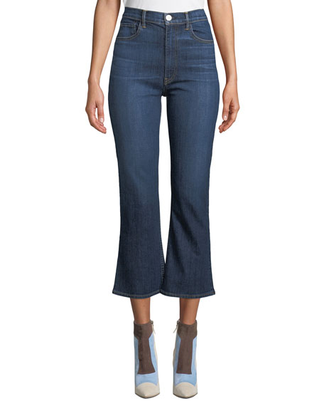 Empire High-Waist Flare-Leg Cropped Jeans