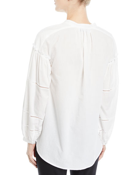 Long-Sleeve Button-Front Cotton Blouse w/ Lace Insets