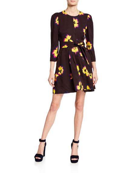 A.l.c Dresses STELLA FLORAL SILK 3/4-SLEEVE SHORT DRESS