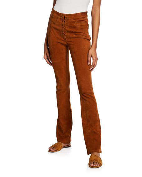 Lace-Up Suede High-Rise Boot-Cut Pants