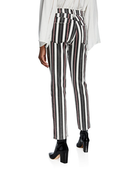 Le Sylvie Striped High-Rise Cropped Jeans