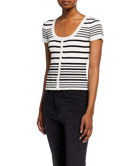 Striped Scoop-Neck Button-Front Sweater