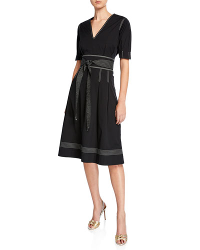 Salome Pleated A-Line Belted Short-Sleeve Dress