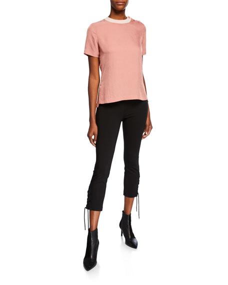 Simone Lace-Up Skinny Stretch Pants