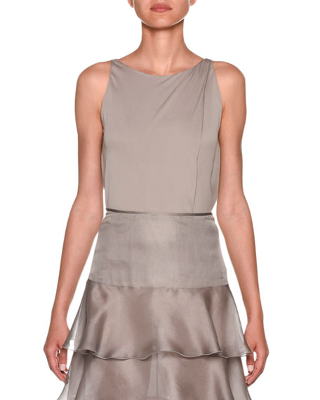 Image 1 of 1: Sleeveless Silk Charmeuse Blouse