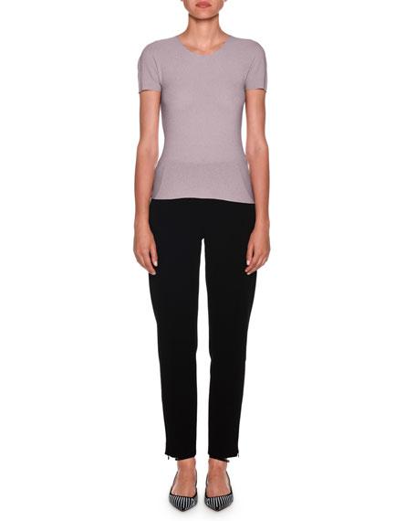Short-Sleeve Knit Crewneck, Lilac