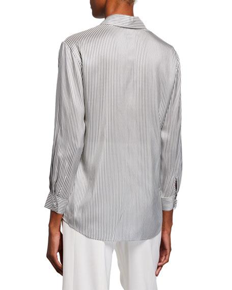 Striped Silk Button-Front Shirt