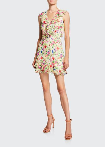 Cece V-Neck Sleeveless Floral-Print Ruffled Cocktail Dress
