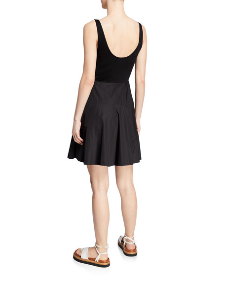 Poplin Sleeveless Dress with Boxy Crop Top