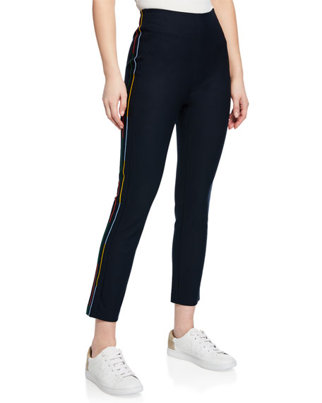 Cropped Flare Trouser w/ Rainbow Stripe Embroidery
