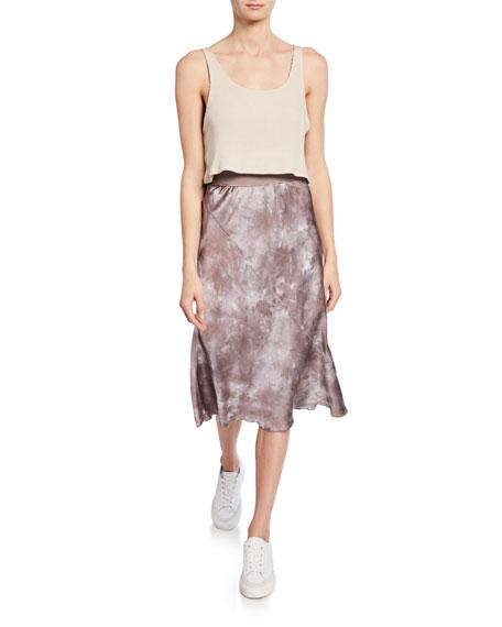 Tie-Dye Silk Pull-On Skirt