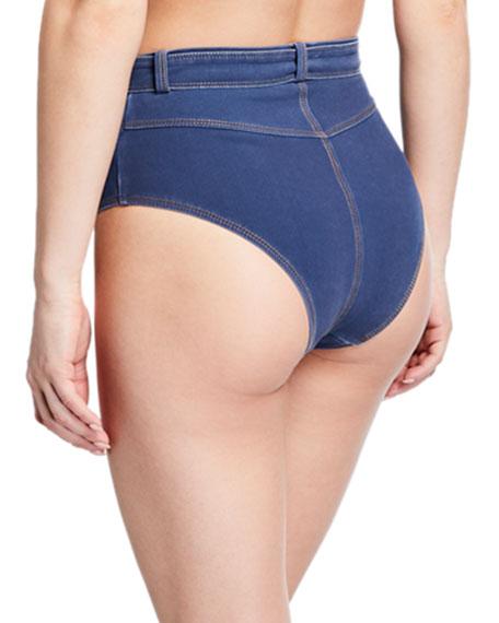 Washed Denim High-Waist Snap-Front Bikini Bottom