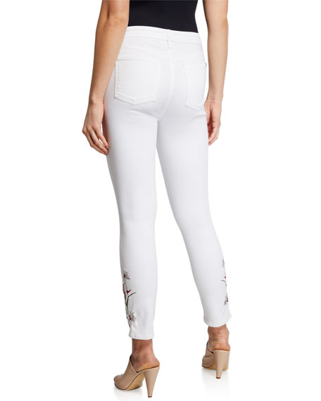 Mid-Rise Ankle Skinny Jeans w/ Lily Embroidery