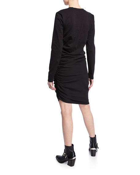 Jaelyn Ruched Long-Sleeve Asymmetric Dress