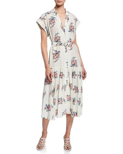 Meagan Floral Dropped-Waist Midi Dress
