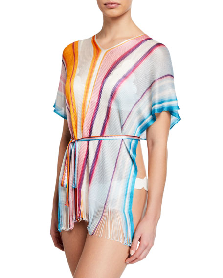 Woven Striped Short-Sleeve Coverup w/ Belt, One Size