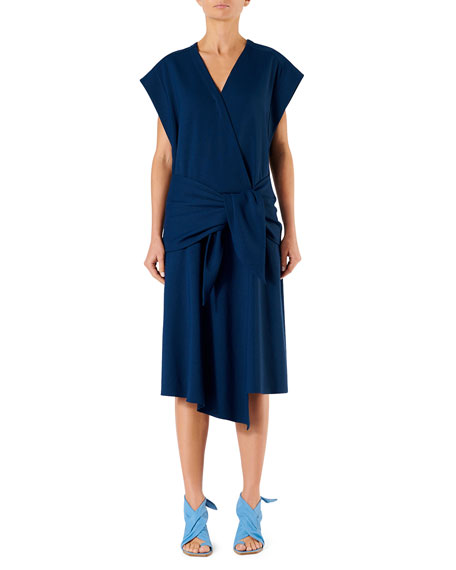 Drapey Short-Sleeve Belted Wrap Dress